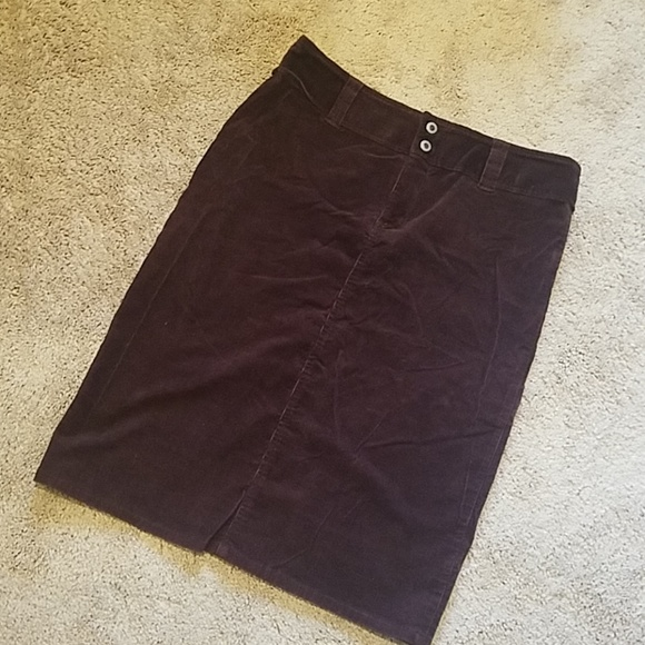 Burgundy Corduroy Pencil Skirt